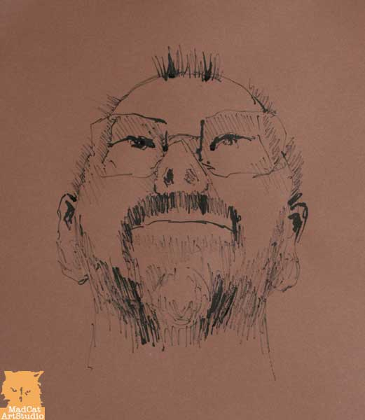 Self-portrait with black ink