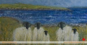 Grazing the Loch Shore sheep painting, Isle of skye, Scotland