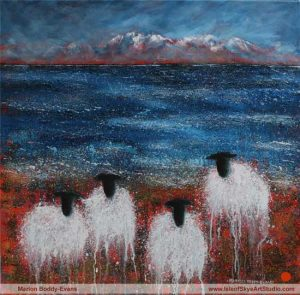 Commissioned sheep painting by Marion Boddy-Evans