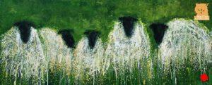 Sheep knitting pattern painting