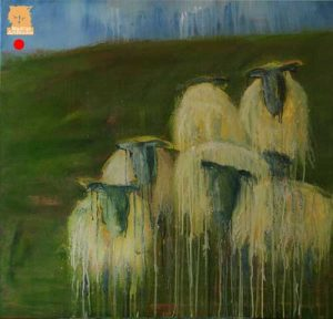 Painting huddling sheep