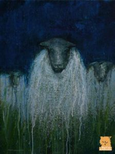 Dark Starry Night Sheep painting by Marion Boddy-Evans, Isle of Skye, Scotland