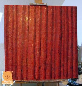 Red trees painting