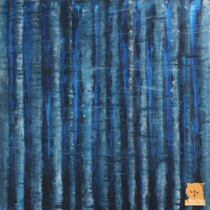 Deep blue woodland painting