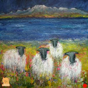 Grazing the Skye Shores sheep painting