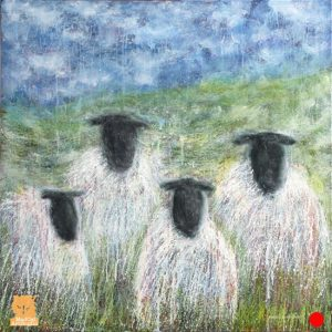 Four Ply sheep painting by Marion Boddy-Evans