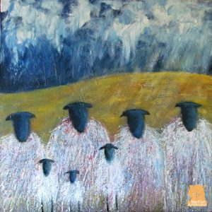 Sheep Family Gathering painting by Marion Boddy-Evans