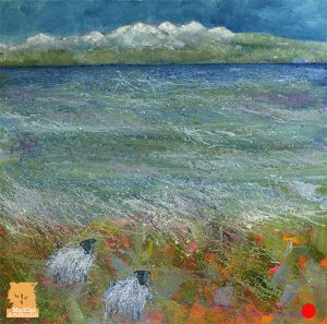 Beach Combing sheep painting Isle of Skye artist Marion Boddy-Evans