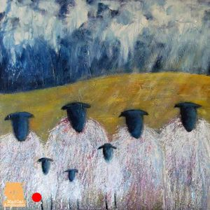 Family Gathering sheep painting