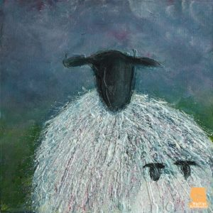 Twins sheep painting by Marion Boddy-Evans, Isle of Skye Scotland