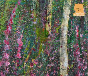 Detail from Foxgloves Forest Painting seascape by Marion Boddy-Evans Scotland Artist