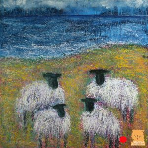 SOLD: Amongst the Buttercups sheep painting