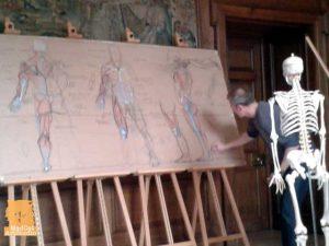 Scottish figurative artist Alan McGowan teaching his artist anatomy workshop