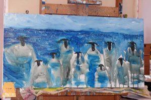 Sheep painting with iambic pentamer rhythm