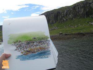 Sketching at Staffin Slipway, Isle of Skye