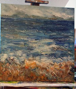 Seascape painting in progress by Marion Boddy-Evans