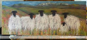 Sheep painting with Skye Cuillin mountains