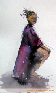 Watercolour by Marion Boddy-Evans: Sitting Figure