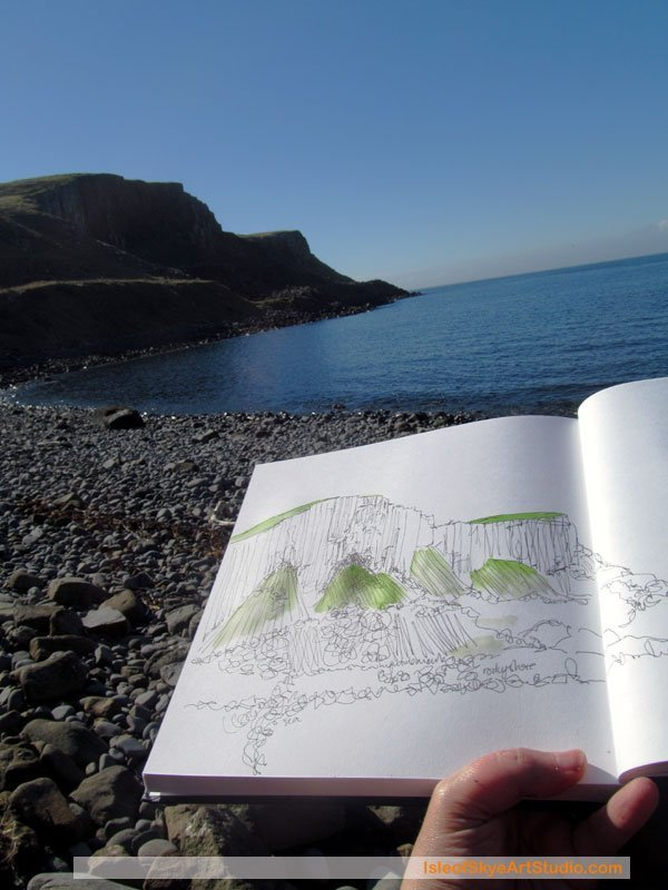 Sketching sea cliffs on Isle of Skye, Scotland