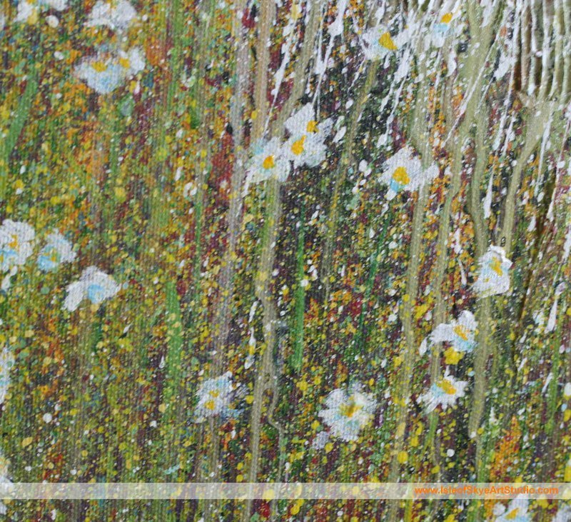 Detail: Flowers in Foreground of Sheep Painting