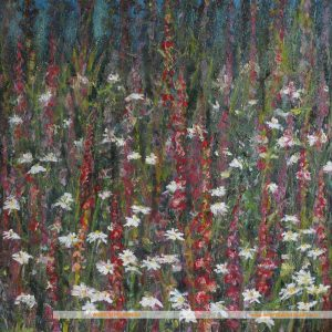 Flower painting with foxgloves and daisies