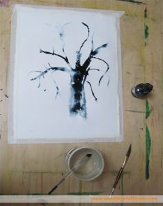 Ink drawing of a tree by artist Marion Boddy-Evans