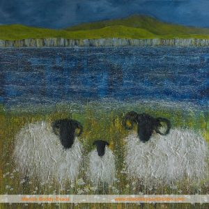 Garden Party Sheep painting by Skye artist Marion Boddy-Evans
