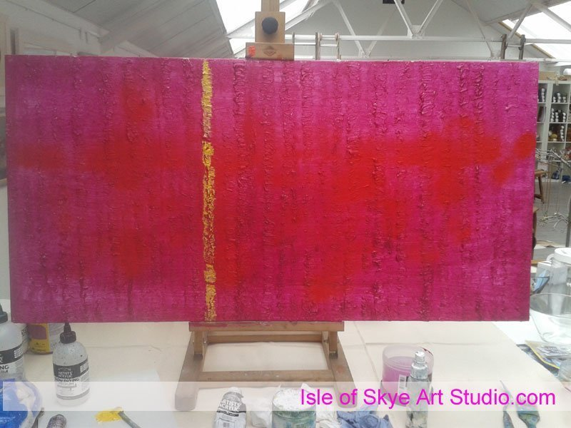 Painting in progress magenta trees