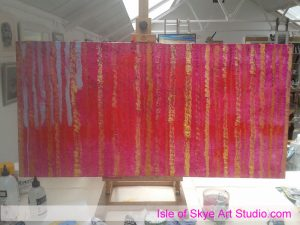 Painting in progress magenta trees