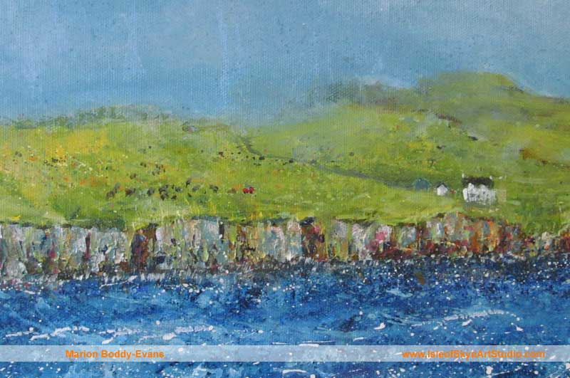 Detail: Grazing the Loch Shore sheep painting
