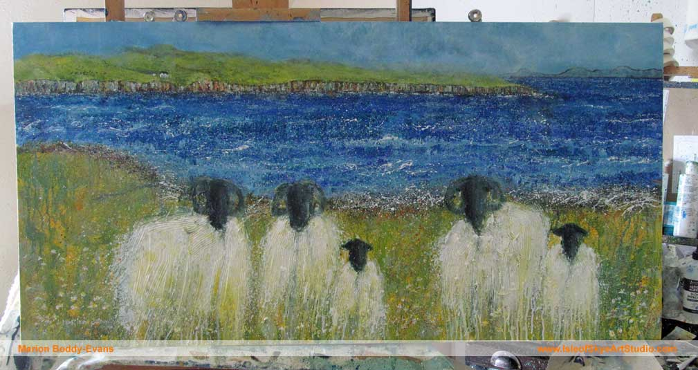 Work-in-Progress: Grazing the Loch Shore. Size: 120x60cm