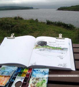 Sketching View near Struan, Skye