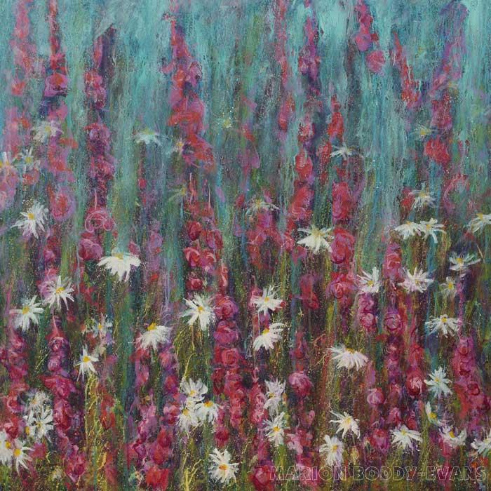 Flower Painting: Listening to Daisies II by Marion Boddy-Evans Isle of Skye Scotland
