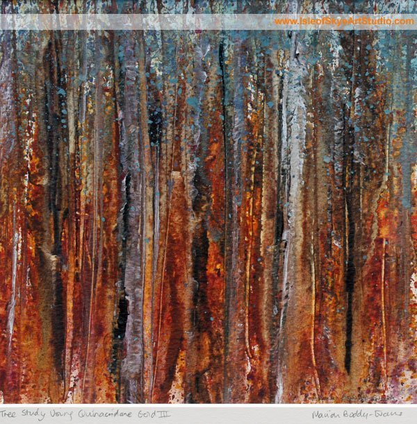 Forest Study in Quinacridone Gold by Skye-based Artist Marion Boddy-Evans
