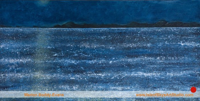 Moon over the Minch seascape by Skye artist Marion Boddy-Evans