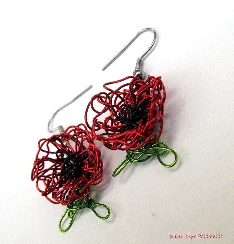 Wirework Red Poppy Earrings