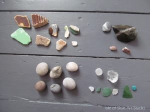 Sea glass and pottery and pebbles found at Gardenstown