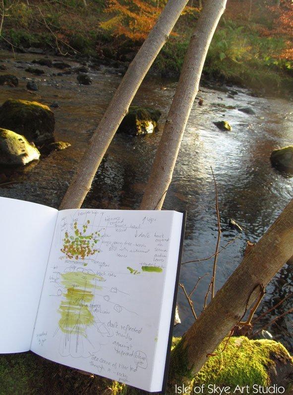 Sketching at the River in Uig, Skye