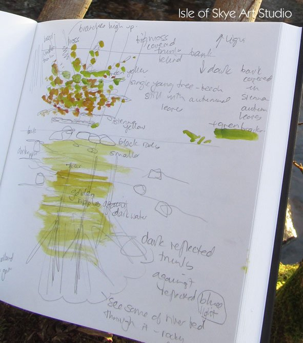 Sketchbook page from river at Uig, Skye