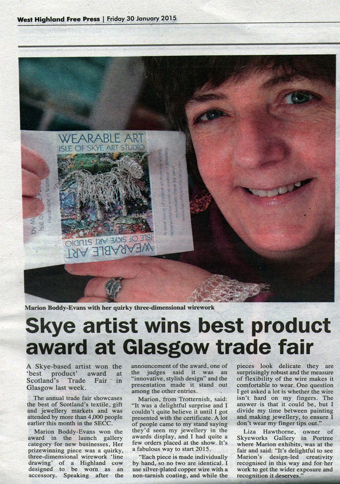Scotland's Trade Fair Best Product Award in West Highland Free Press