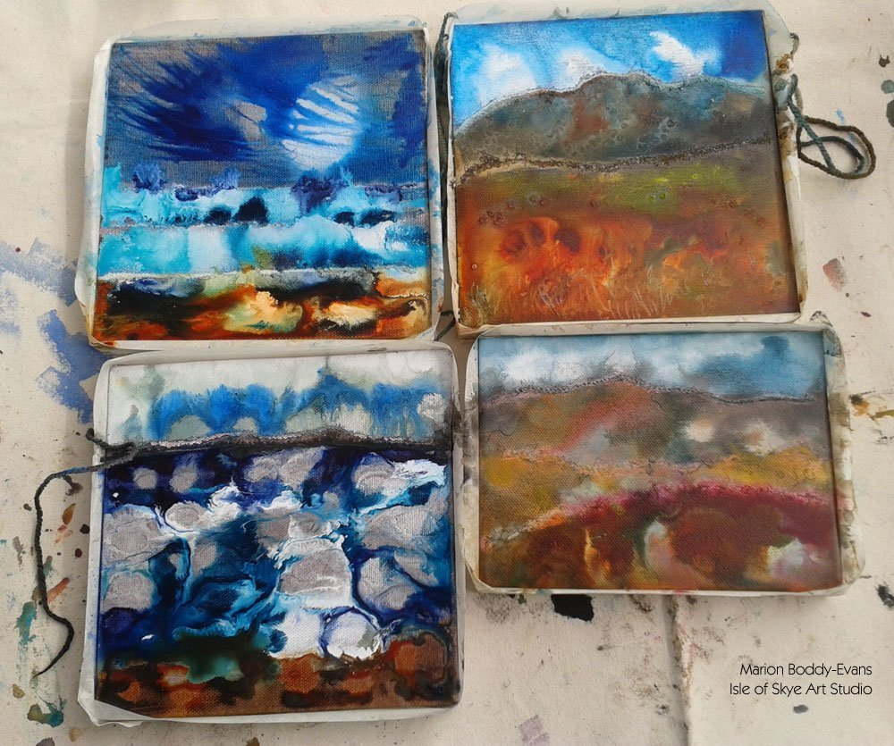 Small Paintings in Progress (4 Flow Landscapes)
