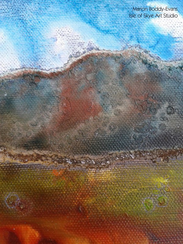 Small Skye Landscape Painting in Progress (detail)