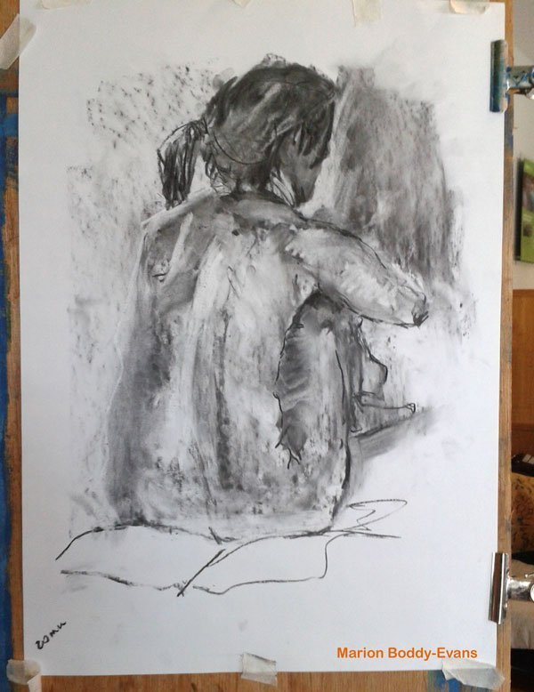 20 minute charcoal figure drawing