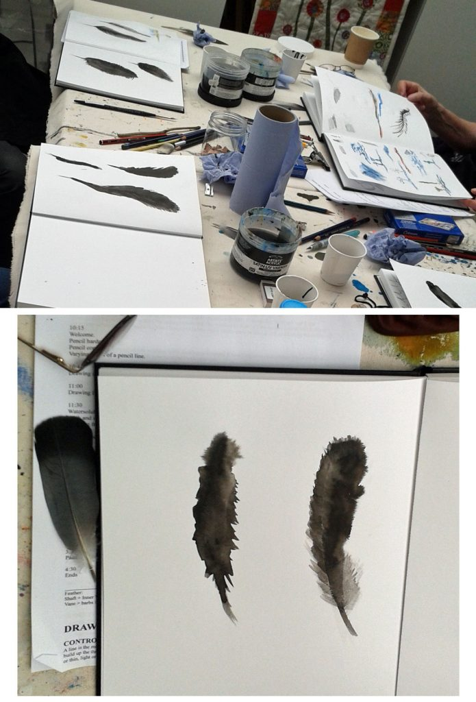 Beginner's Art Class: Ink and Feathers