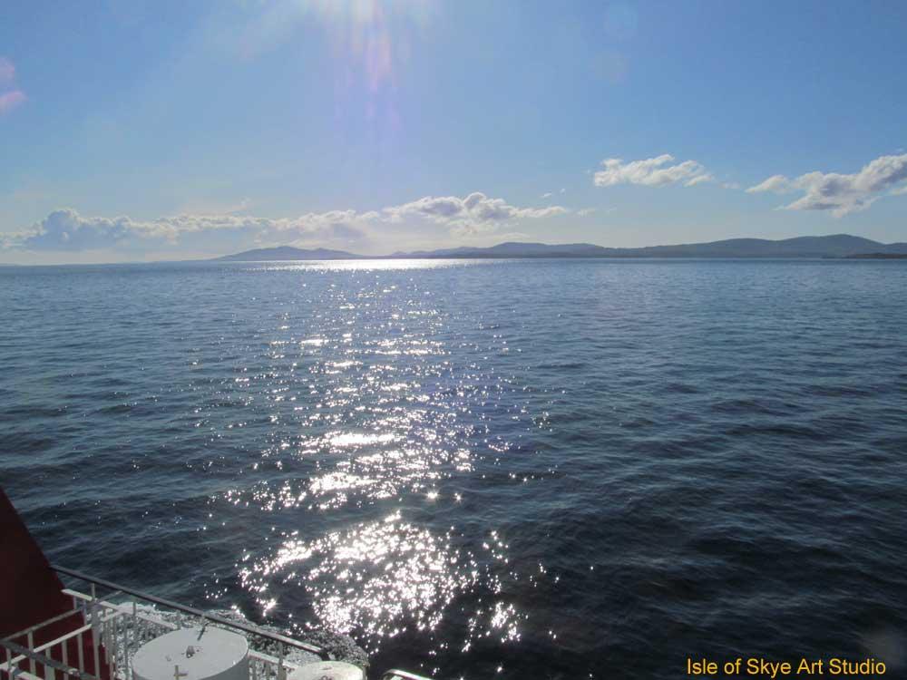 Uig to Stornoway Ferry Trip: Sun Glare on Sea