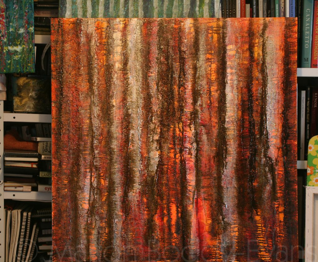 Tree Painting: Listening to the Sun Rise tree painting by Skye artist Marion Boddy-Evans