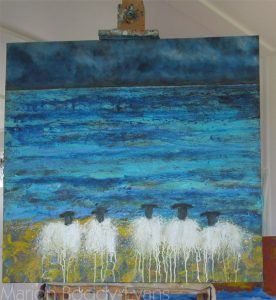 Painting in Progress: First Sheep Painting in New Studio Skye Scotland