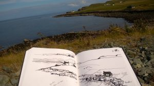 Ink and Stick Sketching on Skye Scotland