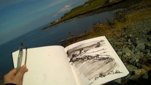 Ink and Stick Sketching Isle of Skye