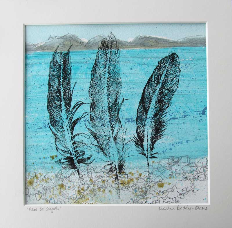 Feather Monoprints: Here Be Seagulls